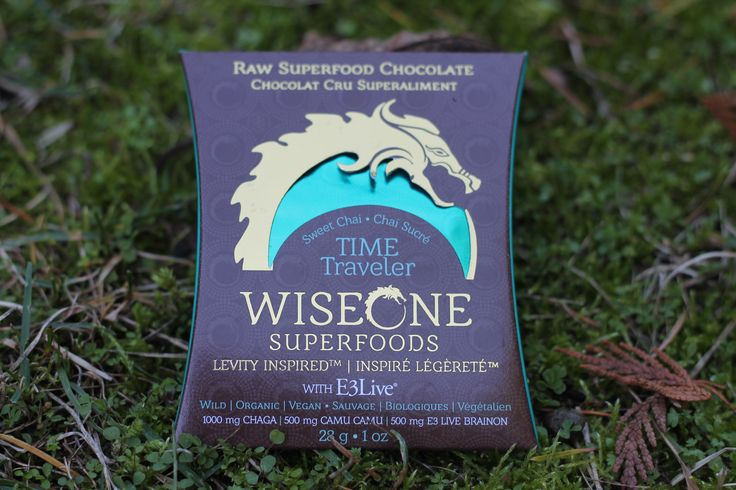 Our Time Traveler Bar with E3 Live BrainOn / PowerOn, Chaga Mushroom, and Camu Camu.   Raw Superfood Chocolate Designed to Fuel the Celebration. Vegan | Organic | Wild    http://www.wiseonesuperfoods.com/product/time-traveler-2/