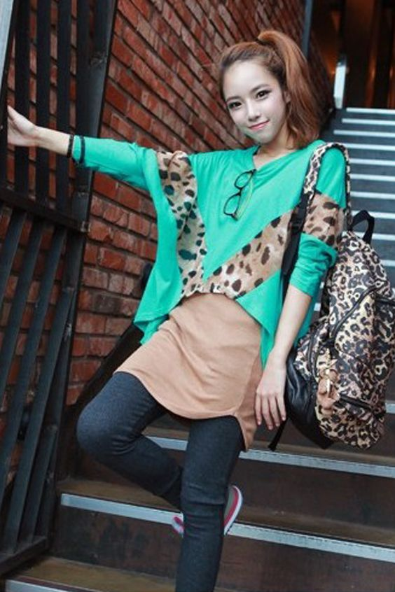T-shirt Vleermuismouwen Luipaard Groen