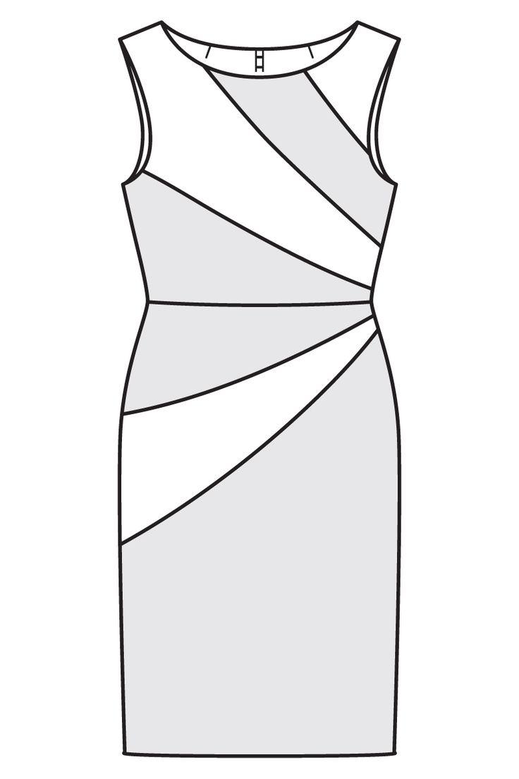 Платье-футляр - выкройка № 105 из журнала 10/2016 Burda – выкройки платьев на Burdastyle.ru