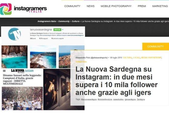 IgersItalia parla del boom su Instagram della Nuova Sardegna