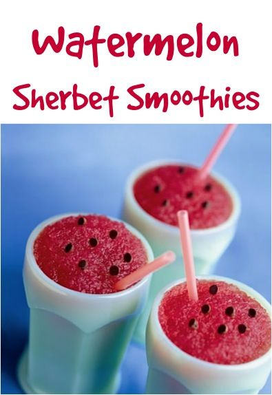 Watermelon Sherbet Smoothies, Yum! This look so good and easy to make. Great for those hot July and August days yet to come.