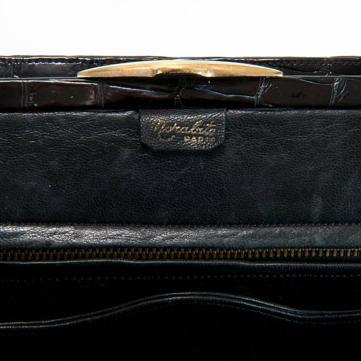 A Rare Black Crocodile bag by Morabito of Paris | From a collection of rare vintage handbags and purses at https://www.1stdibs.com/fashion/accessories/handbags-purses/