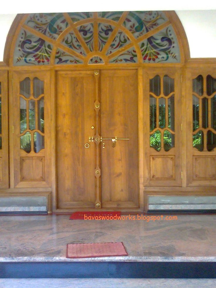 Wood windows frame with double door gracefull Front door grill designs india