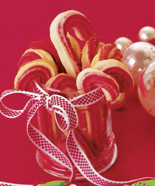 These cookies may look like traditional candy canes, but you won't find any peppermint in this recipe. The main ingredient? Cream cheese! Package these treats carefully, as the long sticks are fragile. Get the recipe for Spritz Canes  - GoodHousekeeping.com