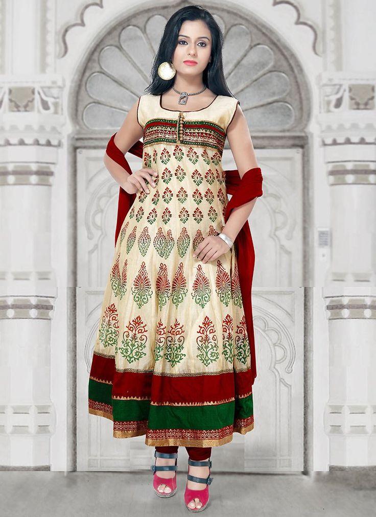Comely Chanderi Cotton Anarkali Suit