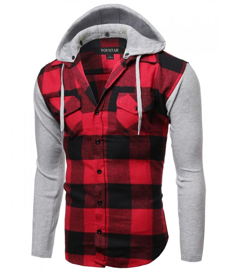 Men S Plaid Checkered Detachable Hoodie Color Contrast
