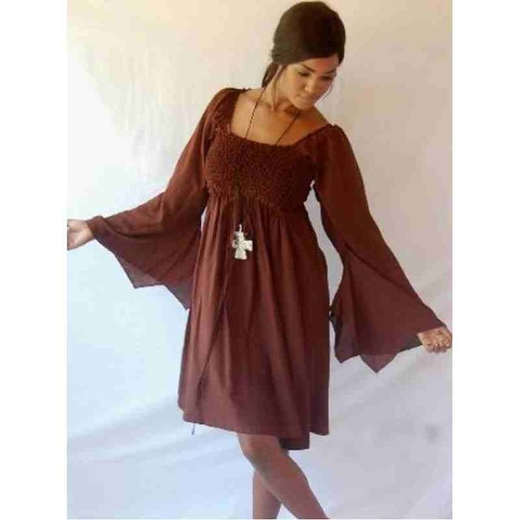 PRE-ORDER - Stunning Smocked Mini Dress Tunic Top with Sleeve Falls (Brown) $64.00 http://www.curvyclothing.com.au/index.php?route=product/product&path=95_97&product_id=9282