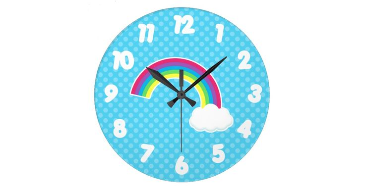 A bright rainbow with a cloud on one end, is on a teal blue background with light polka dots.