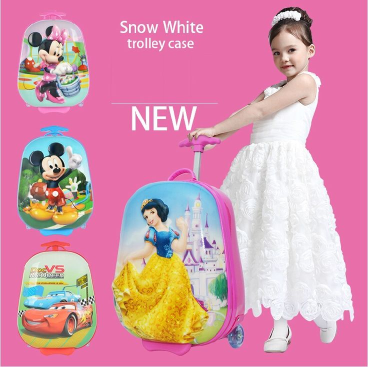 "15""  Princess/car/Minnie/Snow white child cartoon trolley luggage bags travel bag"