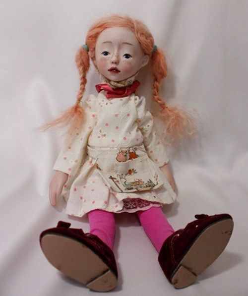 """""""PIPPI LONGSTOCKING""""10.2"""" BISQUE HANDMADE DOLL WITH  RED HAIR BY WOOL"""