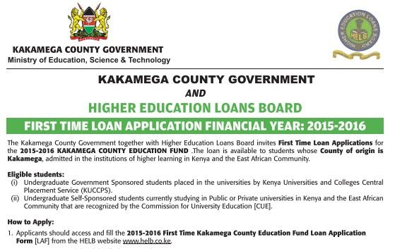 Apply for Kakamega County Government Student loan:  Applications  for first  time applicants now open