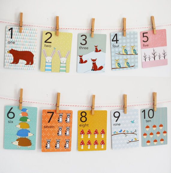Forest Numbers Counting Card Set Nursery Wall Cards by katedurkin