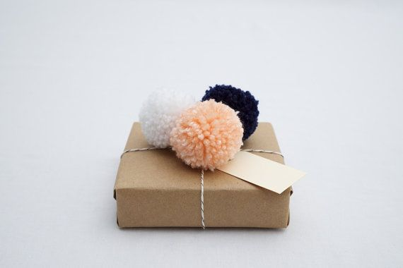 Hey, I found this really awesome Etsy listing at http://www.etsy.com/listing/171400964/gift-wrap-set-peach-navy-and-white-yarn
