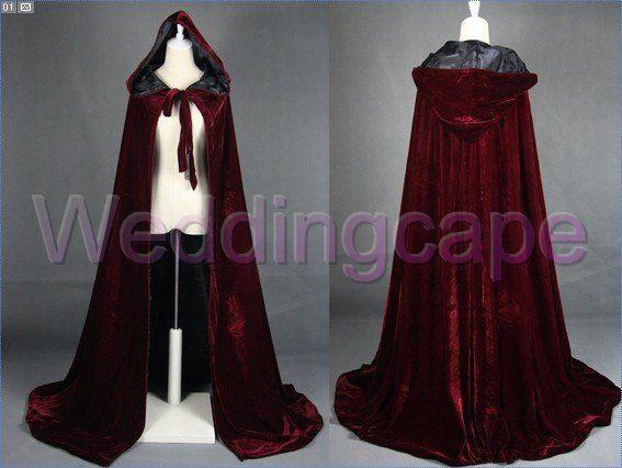 Wine Black Velvet Long Hooded Cloaks Medieval by weddingcapes, $38.00