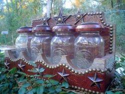TOOLED LEATHER MASON JAR CANISTER SET | Western Decor by Signature Cowboy