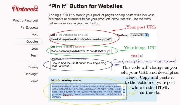How to add the Pinterest Pin It button to a blog post. This is the best explanation I've found so far.: Coupon