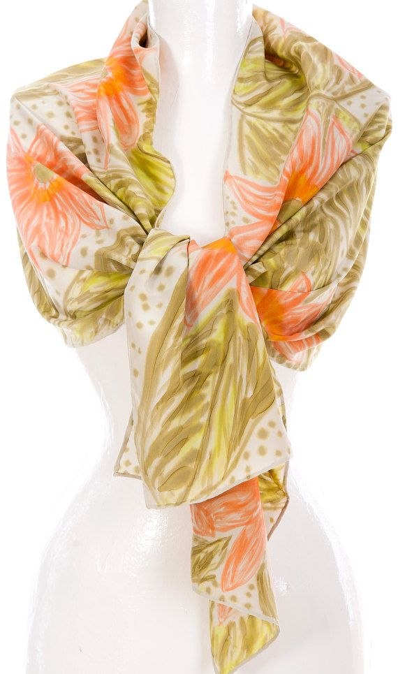 Hand Painted Crepe De Chine Scarf Flowers Fashion Accessory