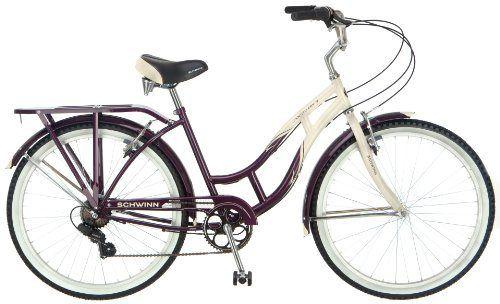 Schwinn Women's Sanctuary 7-Speed Cruiser Bicycle (26-Inch Wheels), Cream/Purple, 16-Inch - http://www.bicyclestoredirect.com/schwinn-womens-sanctuary-7-speed-cruiser-bicycle-26-inch-wheels-creampurple-16-inch/