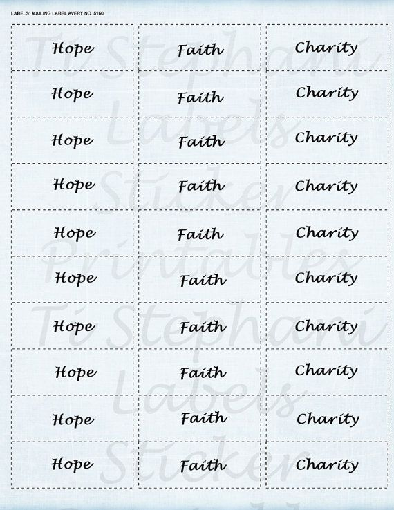 Hope Faith Charity 30 Labels Stickers in Very Light by TiStephani