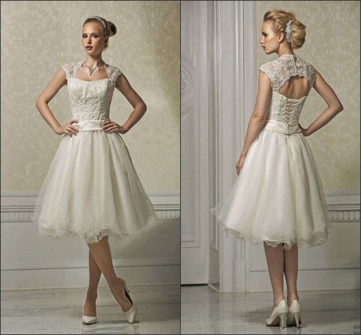 Cap-sleeve-knee-length-short-wedding-dresses-