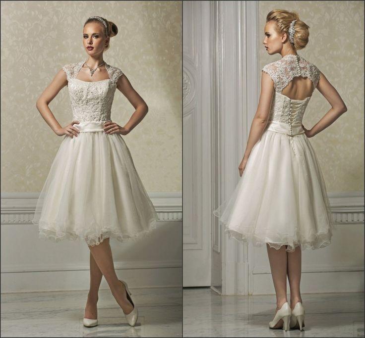Cap-sleeve-knee-length-short-wedding-dresses-