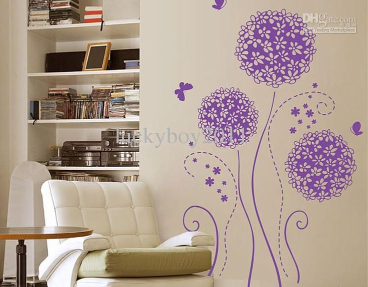 Three Generations of Wall Stickers Purple Hydrangea Flower Television Background Wardrobe Post Roman Online with 13.12/Piece on Luckyboy2011's Store   DHgate.com