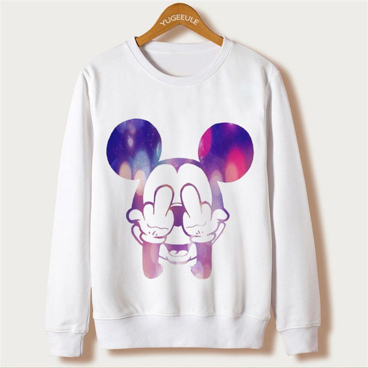 Mouse Cartoon Cute Print 2016 Casual Sweatshirt Women Hoodies Long Sleeve Kawaii Clothes Tracksuit Moletom White Sudaderas Mujer