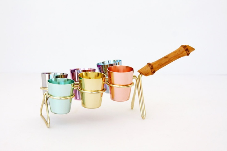 Mid Century Modern Shot Glass Set // Vintage Aluminum Glasses with Carrier // German // Muted Pastel Colorful.