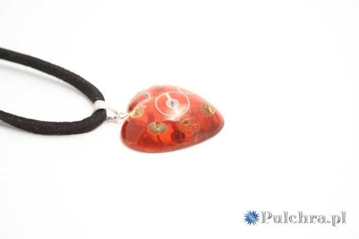 Naszyjnik czerwone serduszko w stylu steampunk  (srebro)