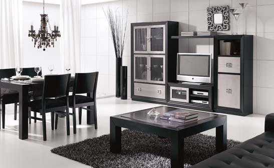 Artesanato Com Jornal Enrolado ~ Mueble de salón fabricado en excelentes acabados que combinan en lacado negro y los frentes en