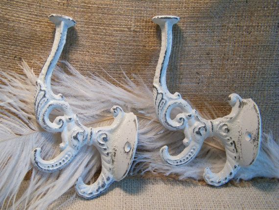 Wall Hooks - White Distressed and Cottage Rustic -Kitchen or Bathroom Accent - Beach House Decor -Victorian and Shabby - Set of 2