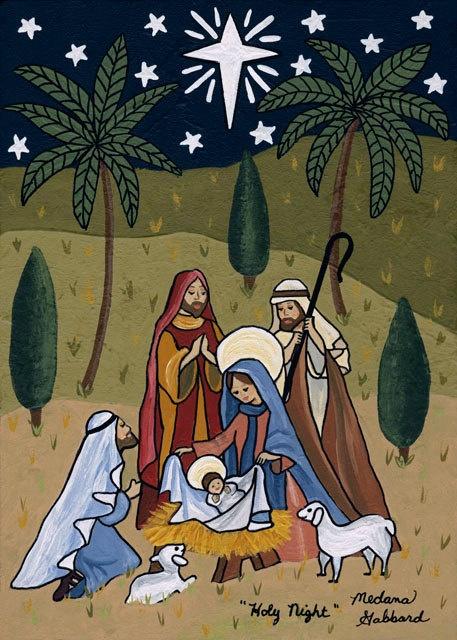 "Folk Art Nativity Christmas print by Medana Gabbard titled ""Holy Night"". $20.00, via Etsy."