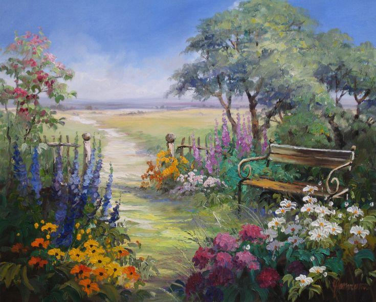 Ute Herrmann | German artist | Ein romantischer Garten mit Bank zum Verweilen und Blick in die Landschaft www.ute-herrmann-… #oilpainting #painting …