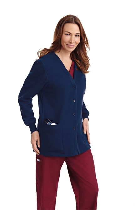 Fleece Button Front Warm-up Jacket This fleece warm-up jacket is comfy and warm, making it perfect for cool  fall mornings or cold offices. Featuring a button front closure, two patch pockets and cuffed sleeves