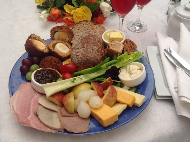 ploughmans lunch platter with local cold meats, cheese, salad, home baked bread and all the trimmings