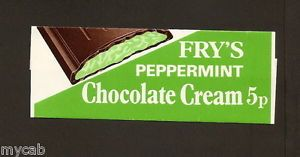 Fry's Peppermint Chocolate Cream - original wrapper. Early 1970's vintage…