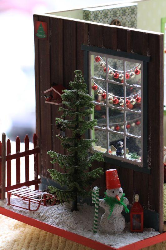 roombox 1:12, miniature 1:12, doll house, akvareel, румбокс рождественский, Christmas