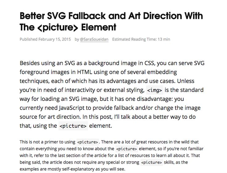 Better SVG Fallback and art direction with the <picture> element.