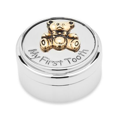 The My First Tooth Box by Godinger is a perfect place for storing one of your child's earliest milestones. Crafted of aluminum with a polished nickel finish and a gold accented Teddy bear on the lid, it makes a truly precious and adorable keepsake.