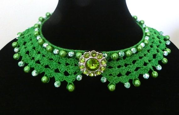 Green Crochet Collar Necklace, Beaded Necklace Choker Detached Collar, Mother's Day Gift, Gift for Her, Free Gift Wrapping, Ready to Ship