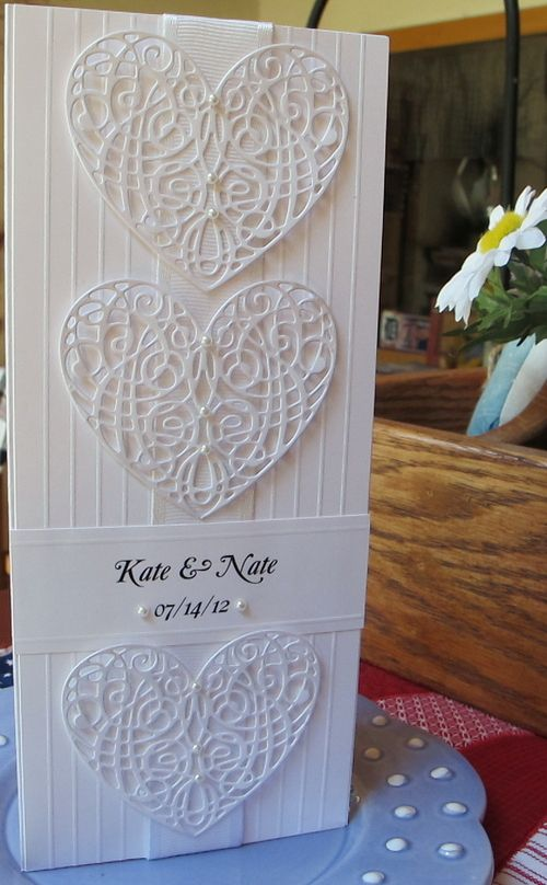 White on White · Heart Prints - could be used for invitations or for a wedding card