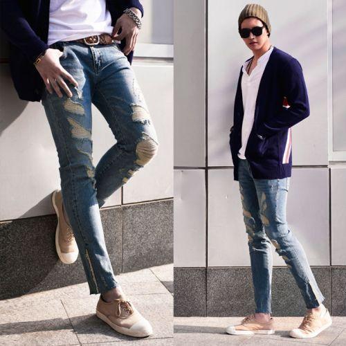 Vintage Hem Worn-out Slim Damaged-Jeans 297 via SNEAKERJEANS STREETWEAR SHOP