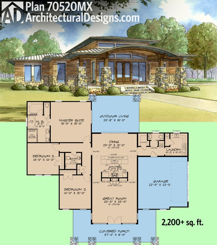 Modern House Plan signature ranch exterior front elevation plan 544 2 houseplanscom Architectural Designs Modern House Plan 70520mk Has 16 Ceilings In The Center Portion And 10