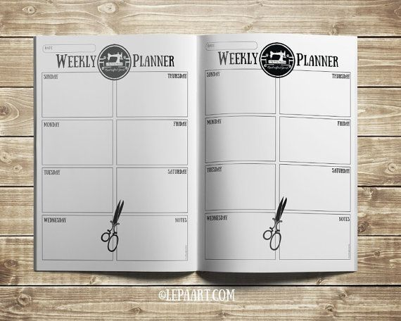Monthly Planner printable Weekly Planner Printable by LepaArt - Gift for sewing lovers