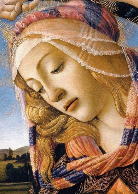 Title: The Madonna of the Magnificat, Detail of the Virgin's Face and Crown, 1482, painting by artist Sandro Botticelli (Early Italian Renaissance Master) ,from Iryna