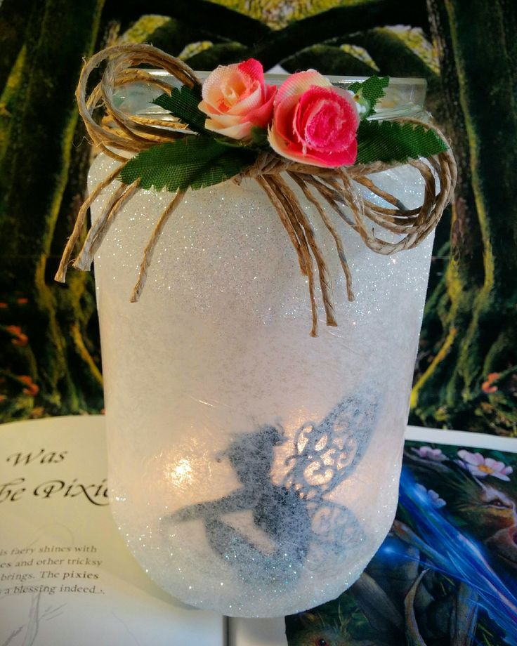 Fairy Jar, glitter, flowers, fairy stencil