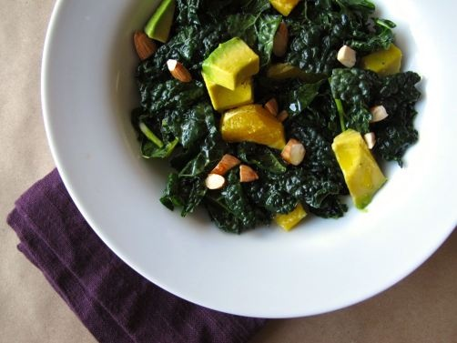 Citrusy Kale Avocado Salad. Tuscan kale massaged with lime juice and tossed with orange/grapefruit wedges and avocado makes for a tangy, refreshing, and satisfying salad.