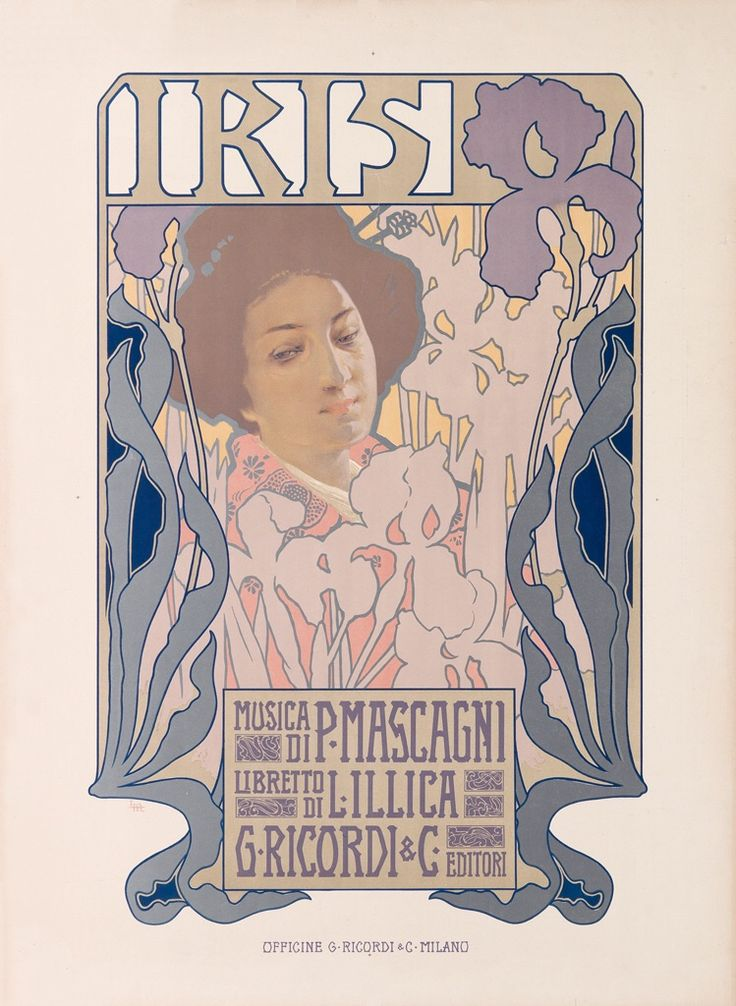 "songesoleil: "" Iris.1899. Lithograph in colours. 75 x 57 cm. Art by Leopoldo Metlicovitz.(1868-1944). """