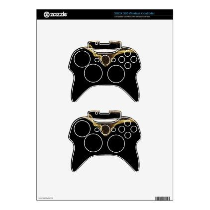 Gold Ribbon Abstract on Black Background Xbox 360 Controller Skins - classic gifts gift ideas diy custom unique