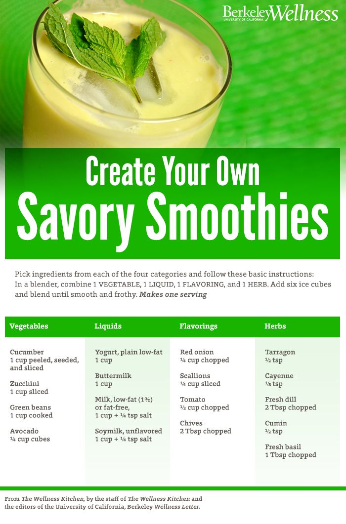 Sweet and Savory Smoothies - Do you prefer your smoothies sweet or savory? You can make them either way (or both)   Berkeley Wellness